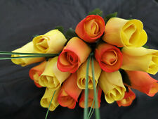 Roses Bouquet Wooden Flowers Wood Artificial Birthday Yellow, Yellow Orange
