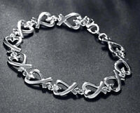 """925 Sterling Silver Bracelets Bangles Womens Large 8"""" Linked Hearts Chain D134"""