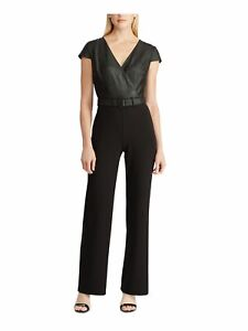 RALPH LAUREN Womens Black Short Sleeve V Neck Straight leg Jumpsuit Size: 6