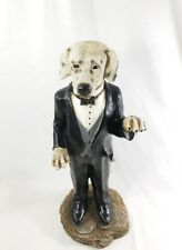 "Very Rare Dog In Tuxedo Suit Waiter 16"" Resin Statue Butler Figure Sculpture"