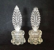 Pair of Vintage Clear Pressed Glass Perfume Bottles with Fan Shaped Stoppers