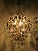 Antique French Gigantic Cage Crystal Chandelier Lamp Lustre Luster1940's 18in Ø
