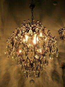 Antique French Gigantic Cage Crystal Chandelier Lamp Lustre Luster1940's 18in Ø.