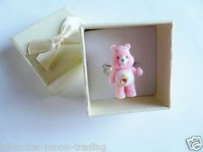 PINK CARE BEARS ADJUSTABLE SILVER RING WITH GIFT BOX, HANDMADE JEWELLERY/gift