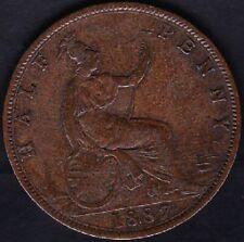 1887 GREAT BRITAIN HALF PENNY COIN FINE