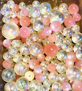 Large Lot of Vintage Lucite Round Beads