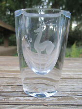 Stromberg Crystal Sweden Vase Antelope Gazelle Strombergshyttan Clear Glass