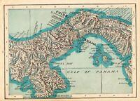 1912 Antique GULF of PANAMA Map Panama Canal Maritime Canal Map 7522