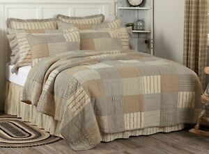 Cal King Quilt Handtitched Country Block Patchwork Earth Tone Gray Sawyer Mill