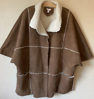 Chico's Size 2 3 L XL Suede Sherpa Logan Jacket Pockets Poncho Sleeves Women's