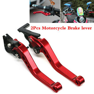 2Pc Dark Red CNC Motorcycle Drum Disc Hydraulic Line GY6 Brake Clutch Lever Red