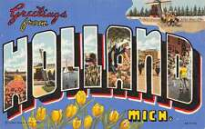 Holland Michigan Greetings Large Letter Linen Antique Postcard K28552