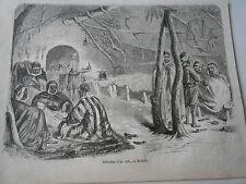 Gravure 1857 - Intérieur d'un café en Kabylie