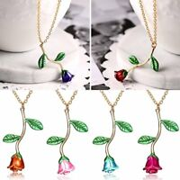 Women Elegant Fashion 18K Gold Plated Rose Flower Pendant Necklace Jewelry Gift