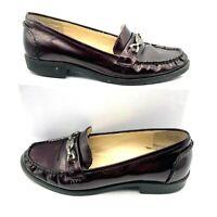 AK Anne Klein Iflex Womens Round Toe Slip On Leather Shoes Burgundy Size 8.5 M