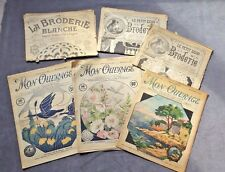 6 French Embroidery Magazines From Early 1900s Mon Ouvrages, La Broderie Blanche