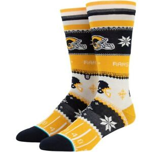 Stance Men Yellow Crew NFL Football LA Rams Holiday Sweater Graphic Socks L 9-12