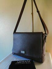 New Armani Collezioni Men's Leather Messenger Bag, Shoulder Bag - Brown