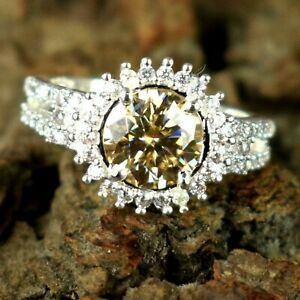 5.25 Ct Champagne Diamond Solitaire Halo Ring AAA Quality, Excellent Luster