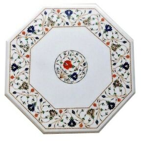 """18"""" white Marble Table Top Pietra Dura marquetry floral Inlay Work Home Decor"""