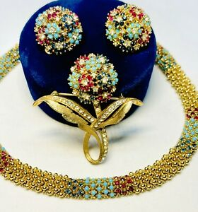 Important Vintage Ciner Gold Tone Pave Sapphire Turquoise & Ruby Parure-Rare Set