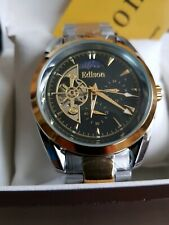 EDISON AUTOMATIC MOON PHASE WATCH Black front, gold &silver strap