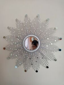 "Beautiful Handmade Silver 30"" Glam Sunburst Mirror, Starburst mirror, Wall Mirro"