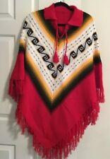 Poncho Southwest Design Vivid Colors Red Gold White Osfm Acrylic ? Vintage