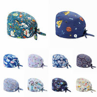 Unisex Surgical Scrub Cap Doctor Nurse Cotton Cartoon Adjustable Hats Buttons