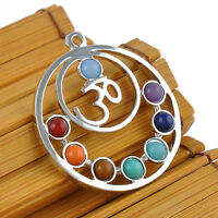Fashion 7 Stone Chakra Healing Point Reiki Bead Gemstone Pendant fit Necklace