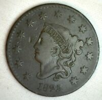 1825 Coronet Large Cent US Copper Type Coin Fine Copper Penny M6