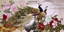 Peacock birds&Flower-HANDPAINTED ORIGINAL FINE ART CHINESE WATERCOLOR PAINTING