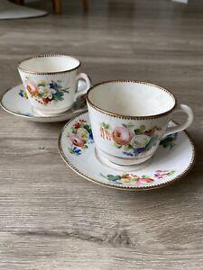 2 x Vintage Antique Bone China Tea Cups & Saucers Floral Roses & Gilt