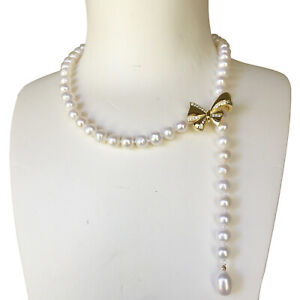 Nice 7.5-8mm Freshwater White Pearl Gold bowknot Necklace Good Luster 47cm DL66