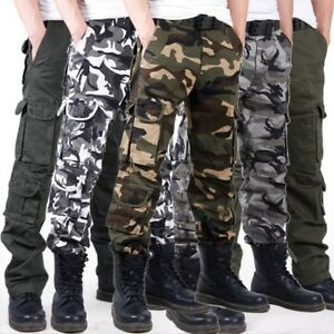 Mens Army Cargo Camo Combat Military Trousers Casual Worker Pants Eight Pockets