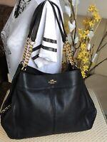 COACH Lexy Black Pebbled Leather Large Satchel Chain Shoulder Bag F27594