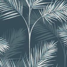 South Beach Palm Leaf Wallpaper Navy Blue Fine Decor Silver Metallic FD42681