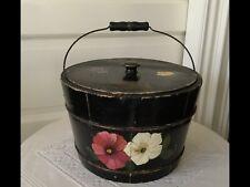Handpainted wooden bucket - from Priscilla Presley estate sale