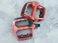 """Old Schools red anodized platform pedals, 9/16"""" spindles for two piece cranks"""