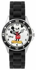 Disney Mickey Mouse Mk1195 Black Silicone Strap Analogue Watch 6+ Years