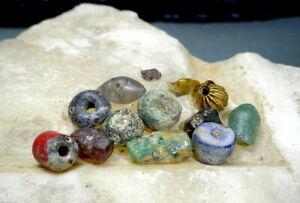 A Collection of Ancient Beads Gold Bead Chrysoprase Quartz Glass Good Provenance