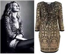 Kate Moss Topshop Ethnic Indian Floral Laced 60s Folk Vtg Shift Tea Dress 6 2 XS