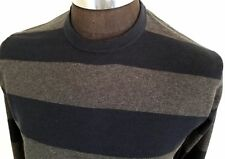 Sebastian Cooper Mens Sweater Crew Neck Size L Heather Gray Blue Striped Yacht