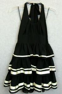 New Double Zero Brand Womens Size Small Dress Black Tiered Halter Party NWT