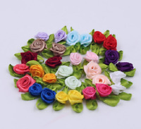 50PCS Mini Satin Ribbon Rose Flower Leaf Wedding Appliques Sewing DIY Decor