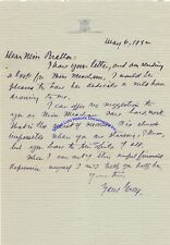 Zane Grey signed letter re hard to be successful when starving during Depression