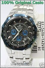 EF-540D-1A2 Black blue Casio Men Watch Edifice Analog Stainless Steel Band 100m