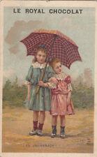 ENFANT ENFANTINA PARAPLUIE JEUNES FILLES 1900s  IMAGE CARD CHROMO