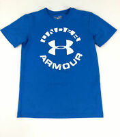 Under Armour Shirt Boys Small Blue Short Sleeves Heatgear Workout Stay Cool