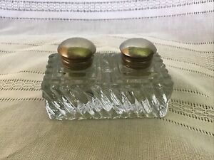 Antique Glass Double Inkwell With Silver Tops